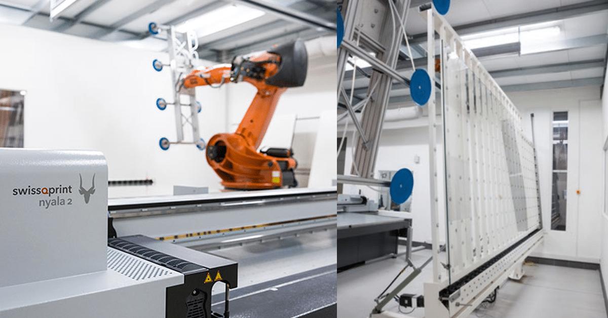 La sala stampa con camera bianca di GlasDruckManufaktur comprensiva di swissQprint Nyala 2 e robot Kuka