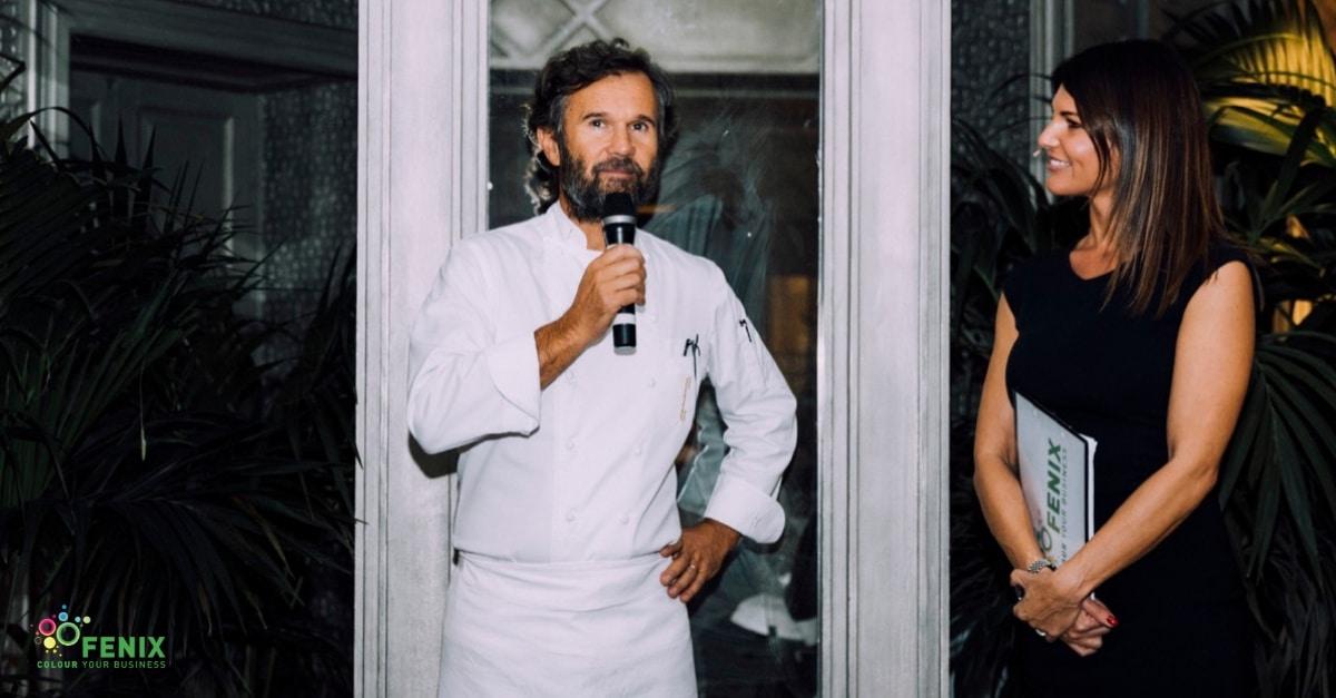 Carlo Cracco e Barbara Pedrotti al Fenix Gala durante Viscom Italia 2018